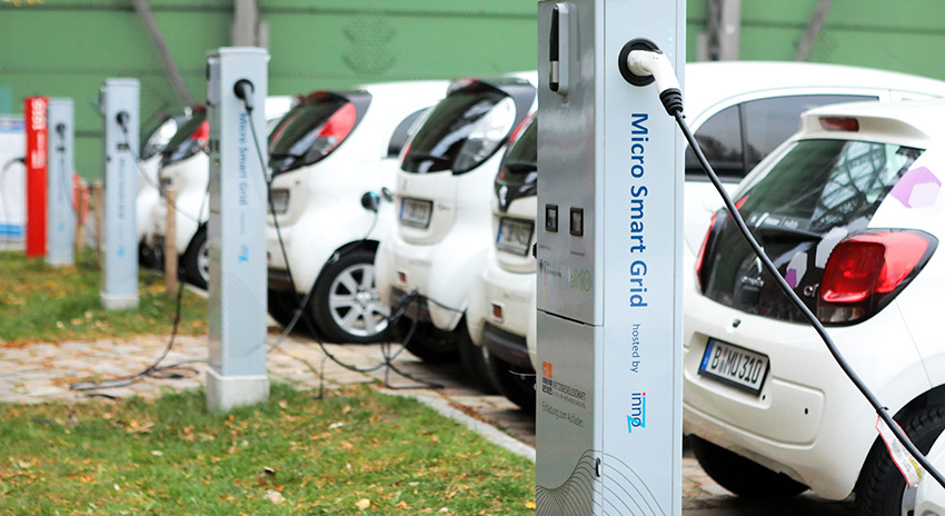 Electrical cars on a charging station