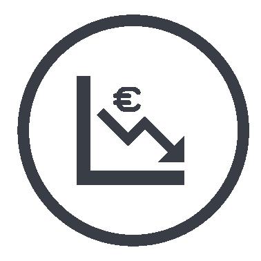 Diagramm mit Eurozeichen und nach unten zeigendem Pfeil