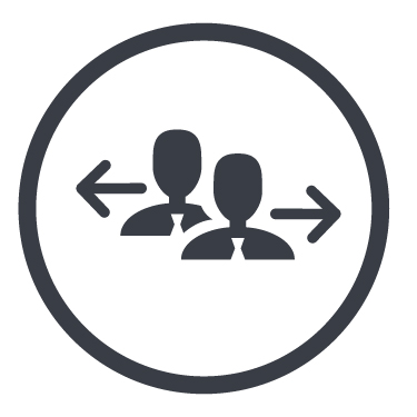 Icon zwei Personen in Businesskleidung