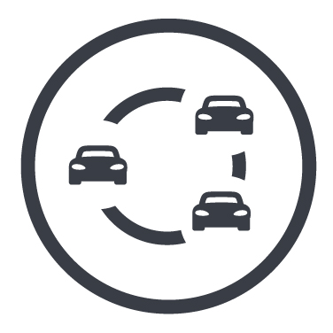 Icon mit mehreren Fahrzeugen und Kreislauf