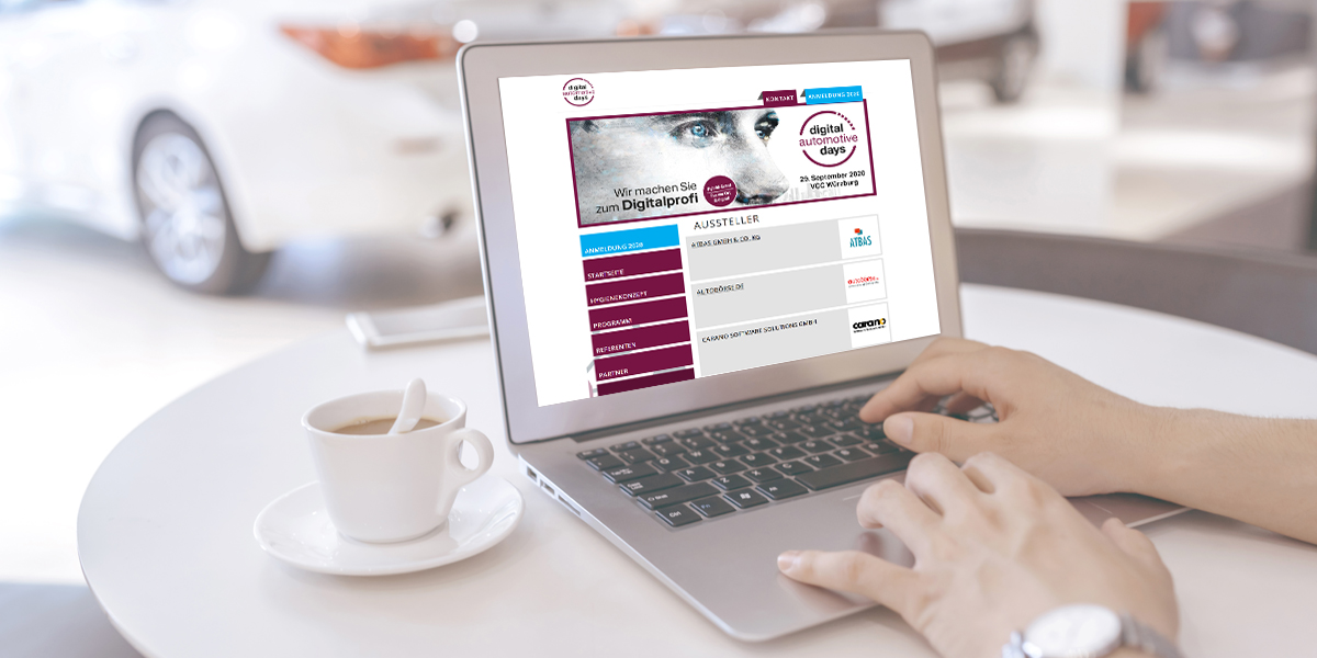 Laptopbibdschirm, auf welchem man die Webseite der Digital Automotive Days erkennt