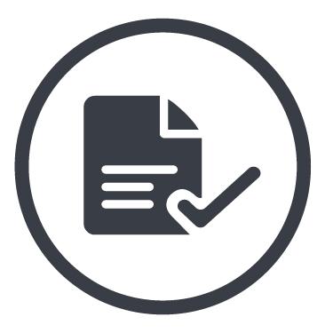 Icon mit Dokument und Häkchen